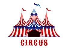 Uitstekende circustent met vlaggen en sterren Stock Foto