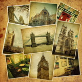 Uitstekende collage. De reis van Londen. Royalty-vrije Stock Foto's