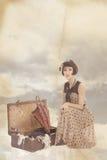 Uitstekende collage met mooi donkerbruin meisje Stock Foto