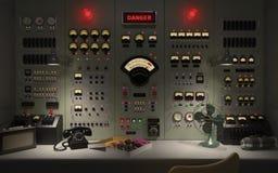 Uitstekende controlekamer achtergrondconcepten 3D illustratie Royalty-vrije Stock Afbeelding