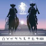 Uitstekende Cowboy Rodeo Concept royalty-vrije illustratie