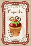 Uitstekende cupcakeaffiche Stock Foto