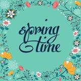 Uitstekende de bloemachtergrond van de de lentetijd vector illustratie