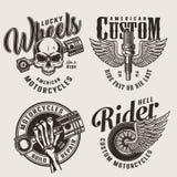 Uitstekende de dienstemblemen van de motorfietsreparatie stock illustratie
