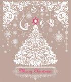 Uitstekende de groetkaart van de Kerstmispastelkleur met document scherpe Kerstmis bloemen witte boom, bloemenversiering en het h royalty-vrije illustratie