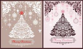 Uitstekende de kaartenvariatie van de Kerstmisgroet met document scherpe Kerstmis bloemenboom, bloemenversiering en hangende deco vector illustratie