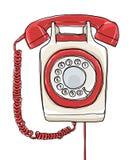 Uitstekende de kunst van de Telefoonmuur hand getrokken het schilderen illustratie stock illustratie
