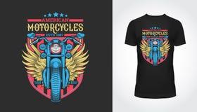 Uitstekende de motorfietstypografie van Amerika, t-shirt stock illustratie