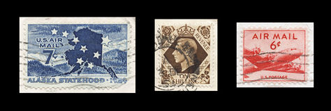 Uitstekende de Postzegels van de jaren '50lucht op Zwarte Stock Afbeelding