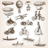 Uitstekende de stijlvector van de vervoer vastgestelde schets Stock Afbeelding