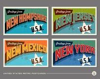 Uitstekende de typografieprentbriefkaaren van Verenigde Staten vector illustratie