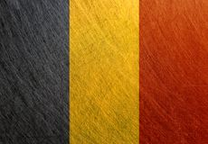 Uitstekende de vlag van België, retro, gekrast, stock fotografie