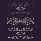 Uitstekende Decoratieelementen Bloeit Kalligrafische Ornamenten en Kaders Retro Inzameling van het Stijlontwerp voor Uitnodiginge Stock Fotografie
