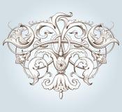 Uitstekende decoratieve elementengravure met Barok ornamentpatroon Stock Fotografie