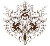 Uitstekende decoratieve elementengravure met Barok ornamentpatroon Stock Afbeeldingen