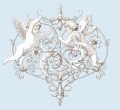 Uitstekende decoratieve elementengravure met Barokke ornamentpatroon en cupido's Stock Afbeeldingen