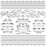 Uitstekende decoratieve krullen en wervelingeninzameling Hand getrokken vecto Royalty-vrije Stock Afbeelding