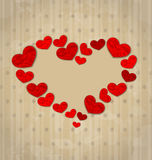 Uitstekende die achtergrond met kader in verfrommelde document harten wordt gemaakt voor Royalty-vrije Stock Afbeeldingen
