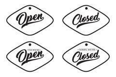 Uitstekende die brief open en voor uw winkeldeur wordt gesloten stock illustratie