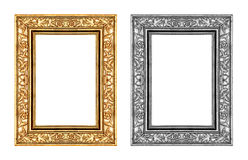 Uitstekende die gouden en grijs nam kader op witte achtergrond wordt geïsoleerd toe Stock Fotografie