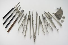 Uitstekende die hulpmiddelen voor tekening worden gebruikt royalty-vrije stock afbeelding