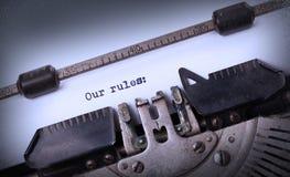 Uitstekende die inschrijving door oude schrijfmachine wordt gemaakt royalty-vrije stock afbeelding