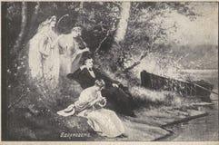 Uitstekende die prentbriefkaar aan het begin van de 20ste eeuw wordt uitgegeven Royalty-vrije Stock Foto