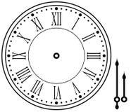 Uitstekende die of retro pictogramklok met handen op wit worden geïsoleerd Klaar voor animatie stock foto