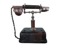 Uitstekende die retro telefoon op wit wordt geïsoleerd Stock Foto