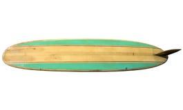 Uitstekende die Surfplank op wit wordt geïsoleerd stock foto