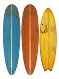 Uitstekende die Surfplank op wit wordt geïsoleerd stock afbeelding