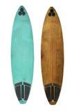 Uitstekende die Surfplank op wit wordt geïsoleerd stock afbeeldingen