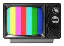 Uitstekende die televisie op de witte achtergrond wordt geïsoleerd stock fotografie