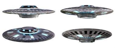 Uitstekende die UFOinzameling bij het witte 3D teruggeven wordt geïsoleerd als achtergrond Royalty-vrije Stock Foto
