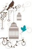 Uitstekende die vogelkooi met boomtakken en vogels op wit worden geïsoleerd Royalty-vrije Stock Foto