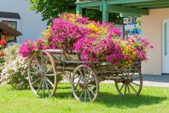 Uitstekende die wagen met jaarlijkse bloemen II wordt verfraaid Stock Afbeeldingen