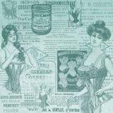 Uitstekende Digitale Document Textuur Als achtergrond - Korsetten - Uitstekende Lingerie die - Victoriaanse Era adverteren stock illustratie