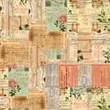 Uitstekende document efemere verschijnselen, tekst en bloemencollage Royalty-vrije Stock Foto's