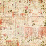 Uitstekende document efemere verschijnselen, tekst en bloemencollage Royalty-vrije Stock Foto