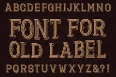 Uitstekende doopvont voor oud etiket Geïsoleerd Engels alfabet royalty-vrije illustratie