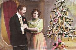 Uitstekende Duitse Kerstmisprentbriefkaar Stock Afbeeldingen