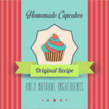 Uitstekende eigengemaakte cupcakesaffiche Stock Foto