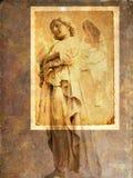 Uitstekende engelenprentbriefkaar - sepia Stock Afbeelding
