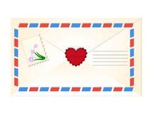 Uitstekende envelop met postzegel Royalty-vrije Stock Afbeeldingen