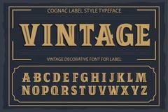Uitstekende etiketdoopvont De stijl van het cognacetiket Royalty-vrije Stock Foto's