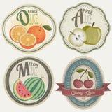 Uitstekende Etiketinzameling met Fruitillustraties. Stock Afbeelding