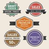 Uitstekende etiketten en reeks van de lint retro stijl. Stock Afbeelding