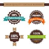 Uitstekende etiketten en reeks van de lint retro stijl Royalty-vrije Stock Afbeeldingen