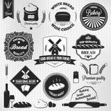 Uitstekende etiketten van de brood de vastgestelde bakkerij Stock Afbeelding