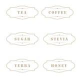 Uitstekende etiketten voor gebruik in keuken Stock Afbeeldingen